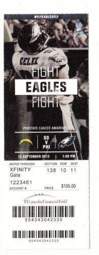 2013 PHILADELPHIA EAGLES VS SAN DIEGO CHARGERS TICKET STUB 9//15//13 BRENT CELEK
