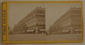 Parigi Grand Hotel Francia Foto Stereo L44 Vintage Albumina c1870