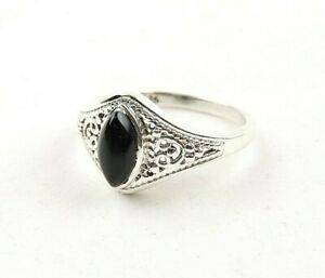 Sterling-Silver-3-0-ct-Black-Onyx-Cabochon-Filigree-Ring-Free-Gift-Packaging