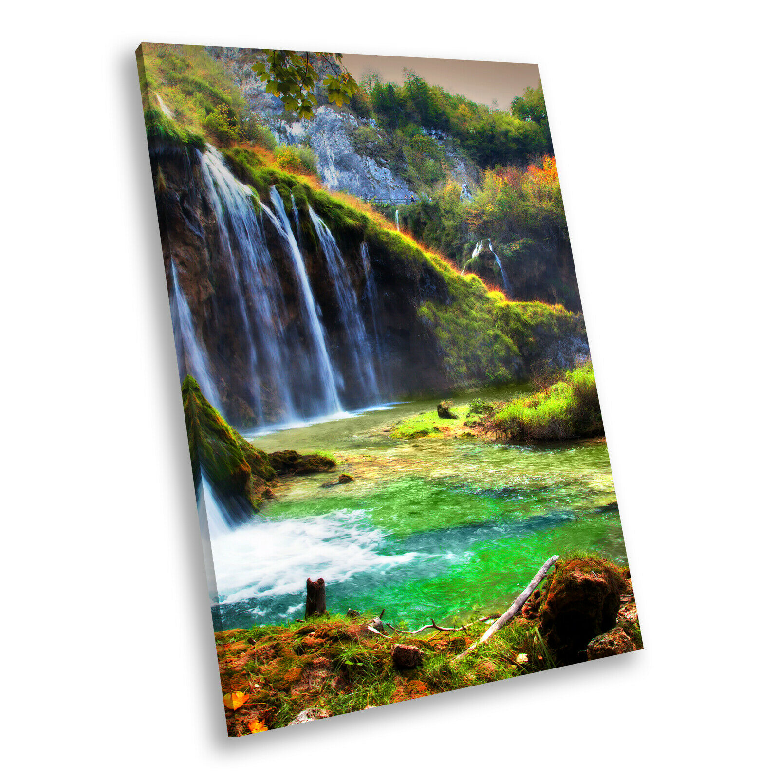 Colourful Waterfall Nature Portrait Scenic Canvas Wall Art Large Picture Prints