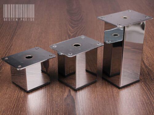 CHROM POLIERT N053 50x50 Möbelfuß Möbelfüße Sockelfüße Schrankfuß Sofafuß Fuß