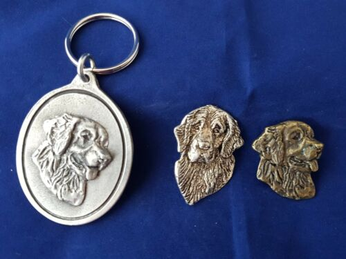 Golden Retriever Dog Brooch Pewter Key ring Silver Bronze plate Dannyquest