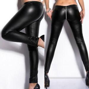 309b7fb76dcbc3 Black New Pants Women Sexy Zipper Vinyl Leather Wet Look Clubwear ...