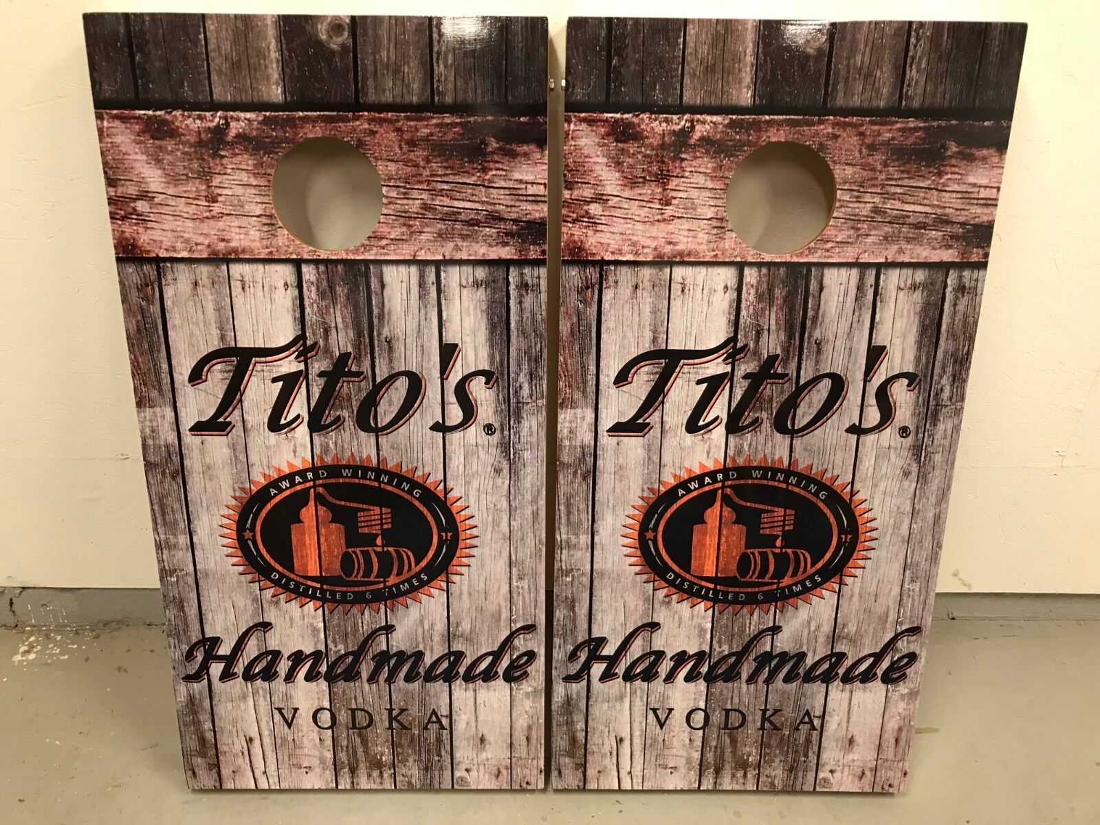 Tito's Vodka On Barn Wood Corn Hole Boards - Bean Bag Toss Game