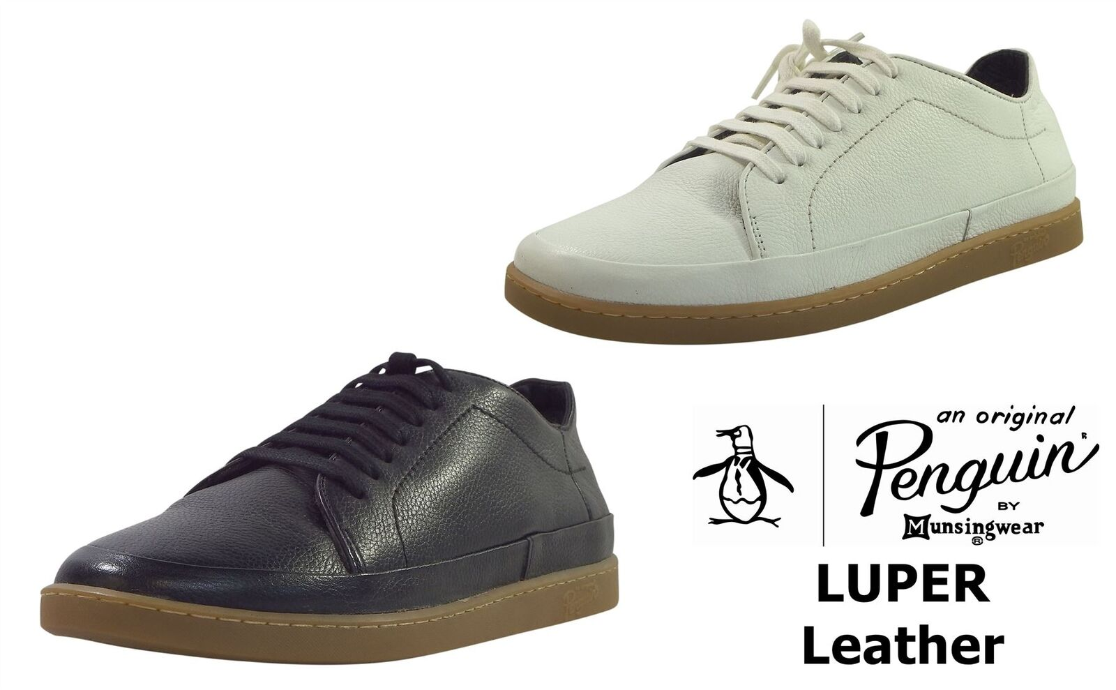 Penguin Mens Luper Thick Leather 7 Eye Casual Sneakers Shoes