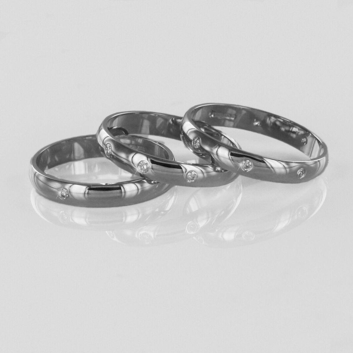 Hallmarked 9ct White gold Diamond Set 3mm Wedding Rings Finger Size H To Q