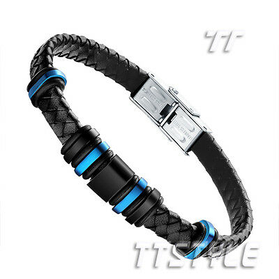TT Black Leather Blue/Black Bead 316L Stainless Steel Bangle (BR141)