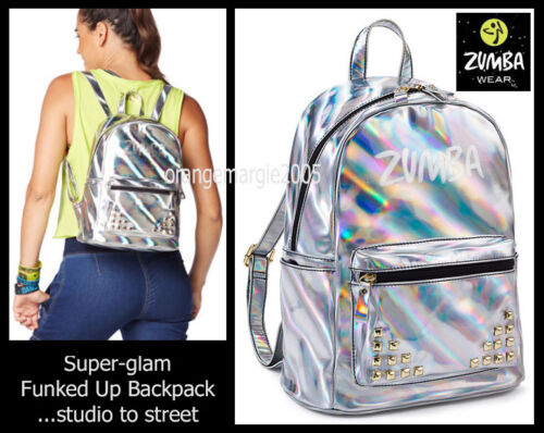 Zumba FUNKED UP BACK PACK Tote Gym Bag Travel Silver Glam Split 100/% Leather