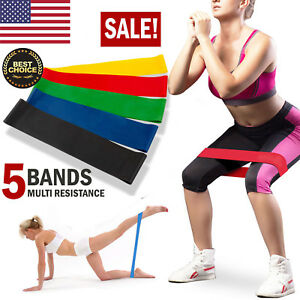 Set-of-5-Resistance-Loop-Bands-Yoga-Crossfit-Fitness-Pilates-Exercise-Workout-US
