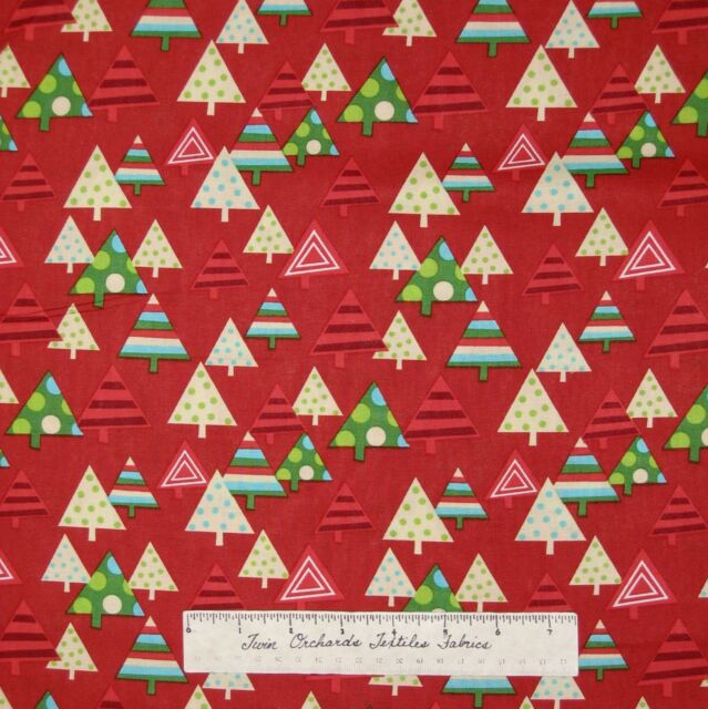 Christmas Fabric - Happy Holidays Tree Packed on Red - AE Nathan YARD