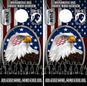 Patriotic American Flag Multi Bald Eagle Cornhole Board Wraps FREE SQUEEGEE 2222