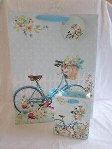 con-Purpurina-Regalo-Papel-Bolsas-Azul-Bicicleta-Cumpleanos-Madre-Dia