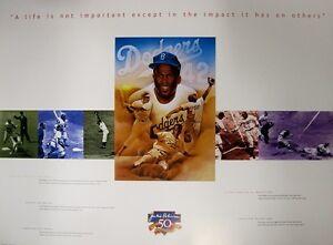 "Jackie Robinson Brooklyn Dodgers 24""x 18"" Historical Highlights Lithograph Print"