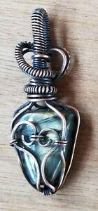 Handmade Green Heart Labradorite Pendant Jewelry Antiqued Copper