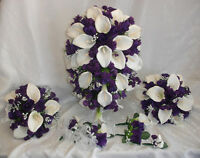 Purple Lapis Full Wedding Set Calla Lilies Roses Silk Wedding Flowers Bouquet