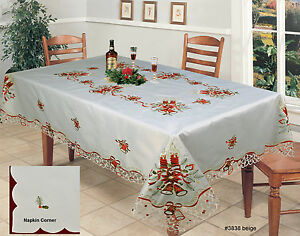 Holiday-Christmas-Bell-Red-Poinsettia-Candle-Tablecloth-With-Napkins-Beige-3838E