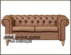 Image Is Loading Luxury Chesterfield Sofa 2 Seater Faux Leather Vintage