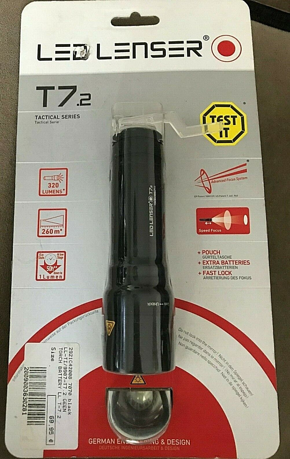 Led Lenser T7.2 + pouch + extra batteries + fast lock