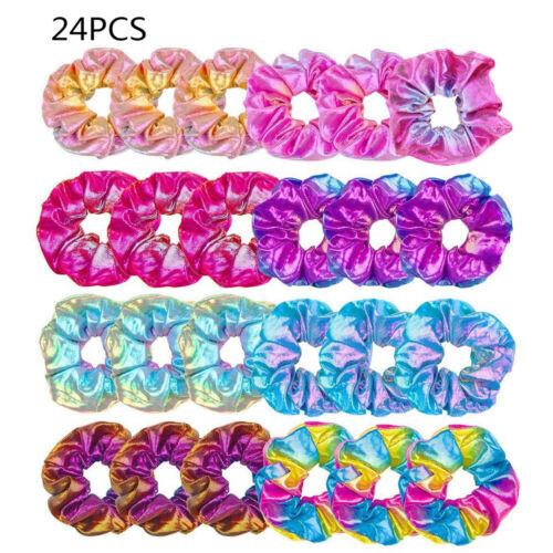 24Pcs Shiny Metallic Hair Scrunchies Ponytail Holder Elastic Hair Ties Bands