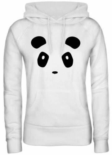 PANDA FACE Panda Gesicht Lady Girlie Kapuzen Hoodie Pullover Shirtstreet24