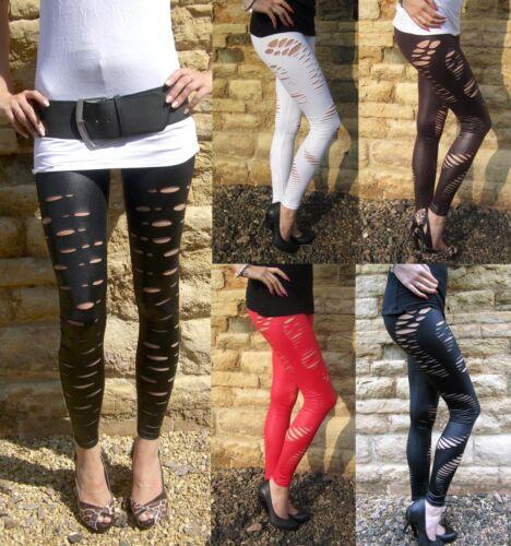 Long Longueur Wet Look Ripped Déchiré Leggings Noir UK 8 10 12 14 16 18 20 22 24