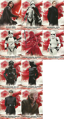 10 Cards 2018 Star Wars The Last Jedi Series 2 Soldiers Of The First Order Set