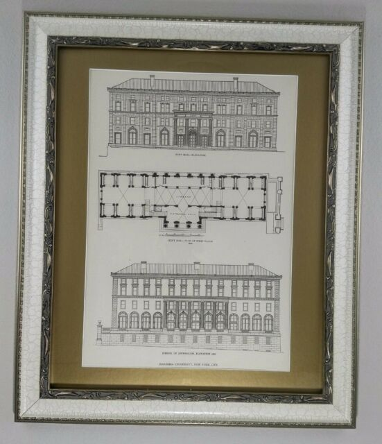 Columbia University, School of Journalism, 1913, Framed Architecture Lithograph