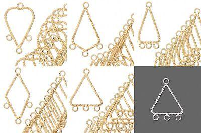 10 Gold & Silver Twist Chandelier Bead Drop Earring Findings Hoop Teardrop Loops