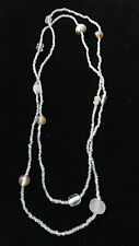RETRO HIPPY INSPIRED CLEAR/STONE LONG L CHARMS NECKLACE GLASS BEADS (ZX11/197)