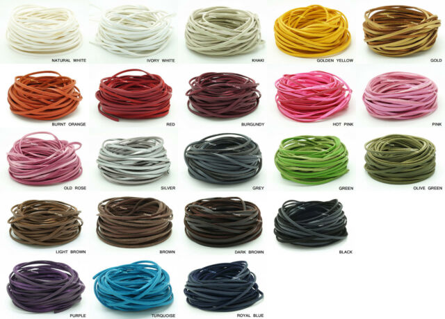 3mm x 1.5mm One Side PU Leather Covered Faux Suede Cord Lace Bracelet Making