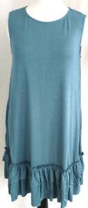Womens-Tunic-Dress-Plus-Size-2X-22-24-Soft-Jersey-Knit-Slate-Blue-Ruffle-Stretch