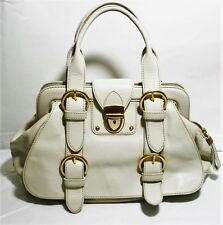 MAXX NEW YORK GENUINE LEATHER HANDBAG FRAME DOCTOR STYLE SATCHEL BAG IVORY PURSE