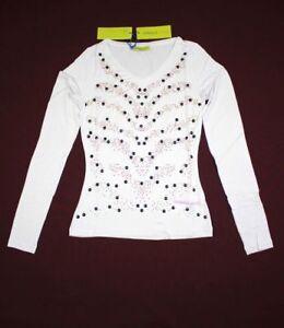 Versace-Jeans-new-women-top-t-shirt-long-sleeve-white-V-neck-size-XXS-S-L
