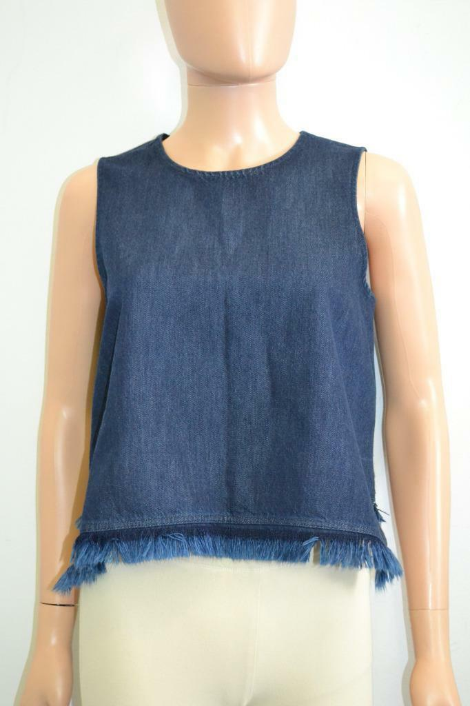 A.L.C. Dark Denim Fringe Hem Sleeveless Blouse Top, Größe 2