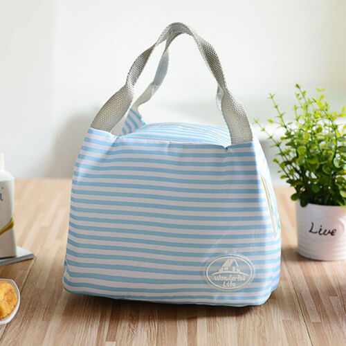 Insulated Cold Canvas Stripe Picnic Carry Case Thermal Portable Food Lunch Bag