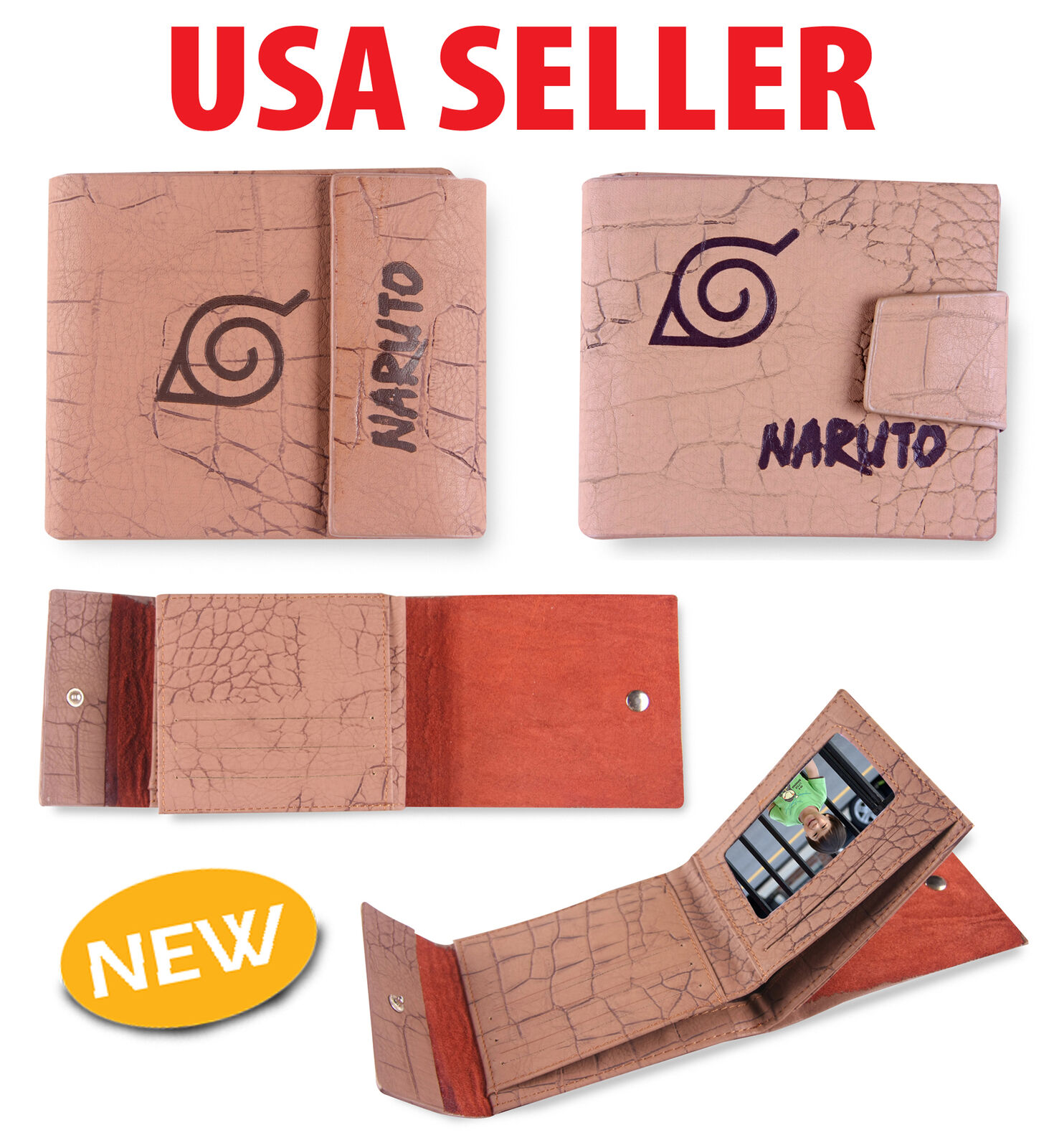 Japanese Anime Naruto Cosplay Accessories Leather Wallet Purse AHB