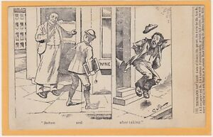 Temperance Prohibition Postcard - Saloon with Boy and Later Man