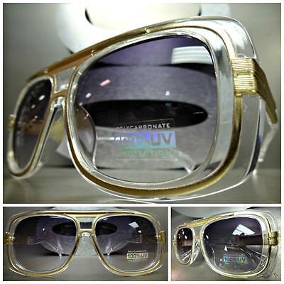 CLASSIC VINTAGE RETRO Style SUN GLASSES Transparent Frame Smoke Gradient Lens