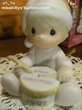 Precious Moments~ORNAMENT~527092~Babys First Christmas~1991~girl playing a DRUM~