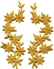 Gold Flowers Floral Boho Granny Chic Golden Applique Iron-on Patches Pair S-1157