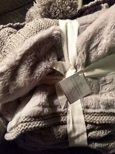 Pottery Barn Cozy Knit Fur Reversible Pom Pom Throw Blanket Gray Grey Soft NEW