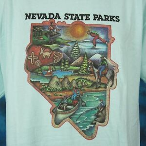 vintage-90s-NEVADA-STATE-PARKS-CARTOON-T-Shirt-LARGE-XL-cowboy-horse-nature-soft