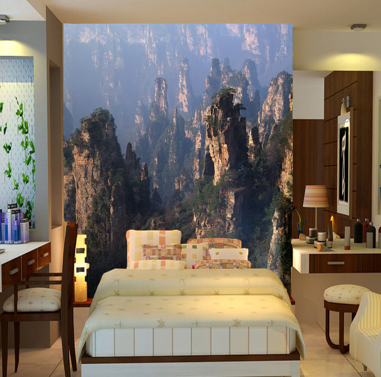 3D Greenwood Mountains Paper Wall Print Wall Decal Wall Deco Indoor Murals