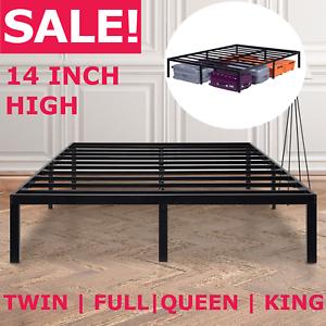 14 inch tall metal platform bed frame steel slat twin full queen king size bed ebay. Black Bedroom Furniture Sets. Home Design Ideas