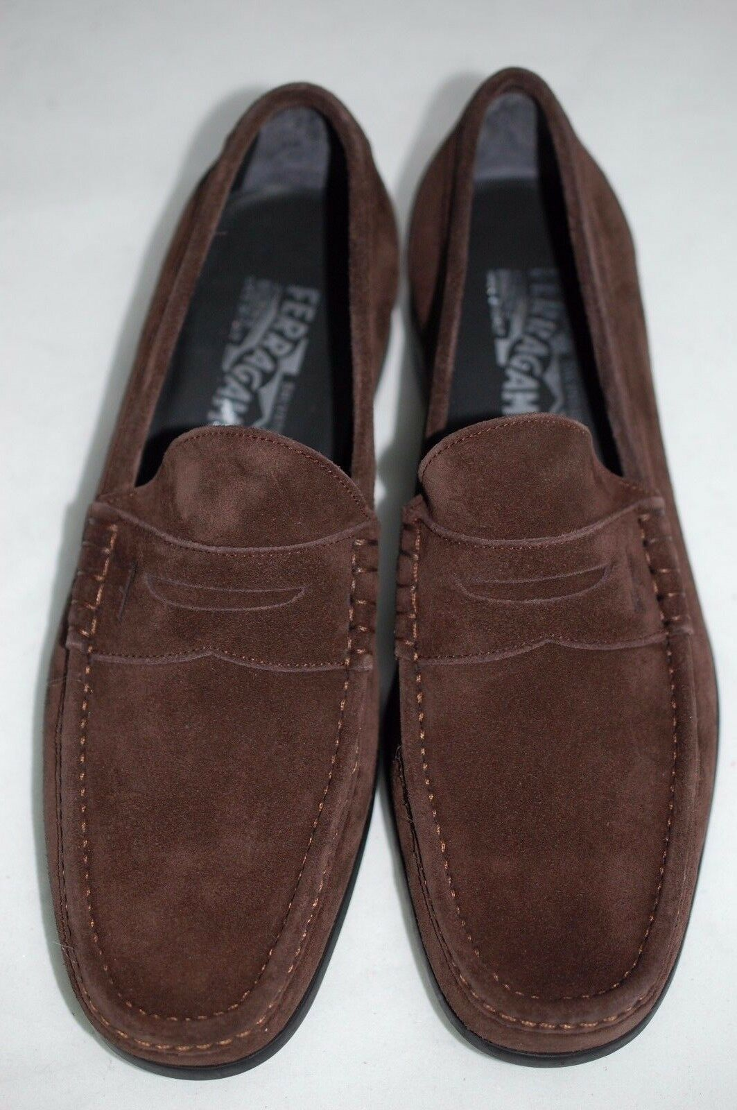 SALVATORE FERRAGAMO Marco Dark Brown Suede Penny Loafer Men Wide shoes 7 EE