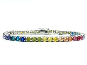 Multi-Color-Gemstone-Tennis-Rainbow-Bracelet-Real-925-Sterling-Silver-4mm