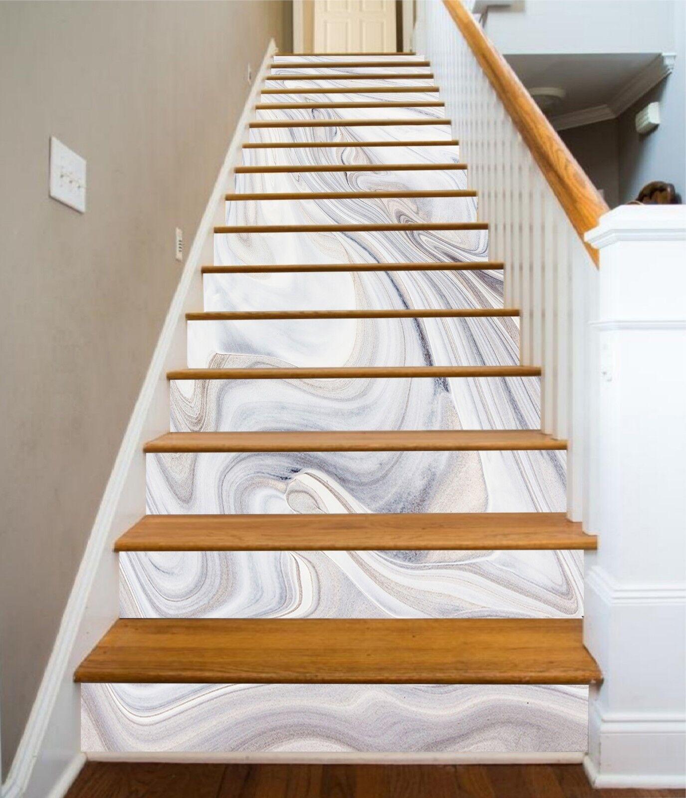 3D Wei Schattie 83 Fliese Marmor Stair Risers Fototapete Vinyl Aufkleber Tapete