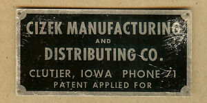 Vintage-CIZEK-Manufacturing-CLUTIER-Iowa-IA-Phone-71-Name-Plate-Sign