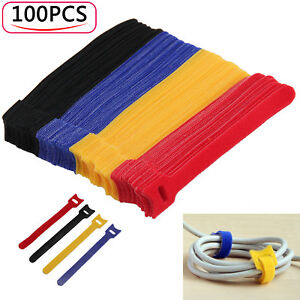 100 x Reusable Nylon Straps Hook and Loop Cable Cord Ties Tidy Organiser UK