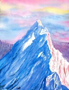 034-Conquering-034-ORIGINAL-signed-watercolor-painting-snow-peak-mountain-nature-scene